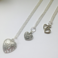 Set of 3 Layered Charm Necklaces Silver Boho Gift Boxed Birthday Teens Gift