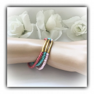 Set of 3 Stretch Boho Summer Bracelets in Pink, Terracotta, Turquoise & Gold