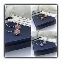 Stemmed Rosebud Earrings in Gold, Silver & Rose Gold Gift Boxed Ladies Gift