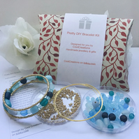 Turquoise & Gold Bracelet Kit for the perfect gift Birthday Christmas Girlfriend