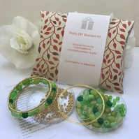 Green & Gold Pretty Bracelet Kit for the perfect gift Birthday Christmas Mother