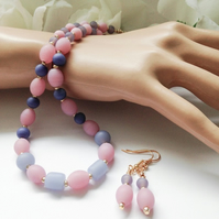 Pretty Pink & Lavender Frosted Glass Necklace Set