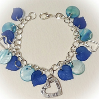 Turquoise Shell & Heart Charm Bracelet Gift Boxed Ladies Birthday Christmas