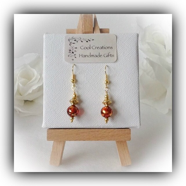 Red & Gold Plated Earrings Gift Boxed by Cool Creations Christmas Mum Birthday