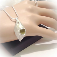 Handmade Solid Silver Chunky Leaf Pendant with Olive Green Cats Eye Cabochon