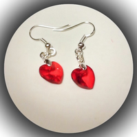 Red Crystal Heart Earrings Gift Boxed Love Girlfriend Valentine Christmas Gift
