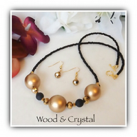 Black & Gold Wood & Crystal Necklace Set with Matching Earrings Gift Boxed