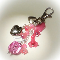 'Hearts & Flowers' Bag Charm Pink Gift Boxed Birthday Mother Christmas Gift