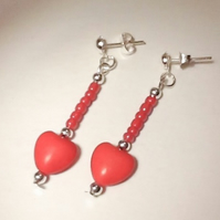 Gemstone Heart Earrings Red Gift Boxed Birthday Christmas Mother Girlfriend