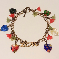'Hearts & Flowers' Pretty Charm Bracelet Gift Boxed Birthday Christmas Gift
