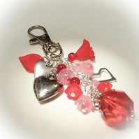'Hearts & Flowers' Bag Charm Red Pink Gift Boxed Birthday Christmas Mother Gift