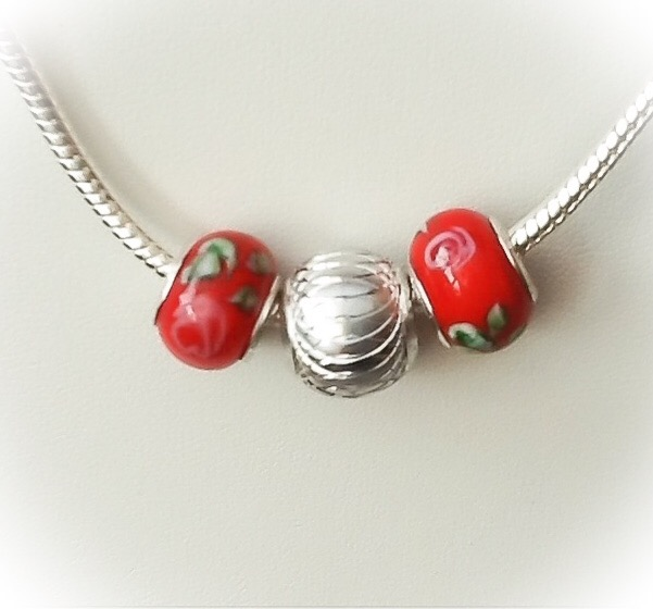 Snake Chain Necklace with Red Lamp Work Beads Gift Boxed Christmas Birthday