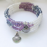 Beach Ready Lilac & Silver Boho Summer Bracelet Gift Boxed Gift
