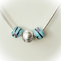 Silver Necklace with Turquoise Lamp Work Beads Gift Boxed Christmas Birthday