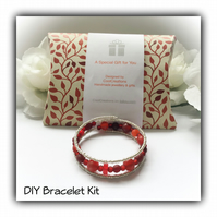 DIY Red & Silver Pretty Bracelet Kit perfect gift idea Birthday Christmas Mother