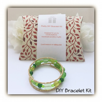 DIY Green & Gold Pretty Bracelet Kit for the perfect gift Birthday Christmas