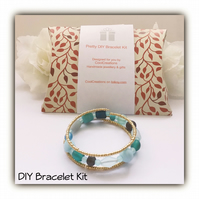 DIY Turquoise & Gold Bracelet Kit for the perfect gift Birthday Christmas Mother