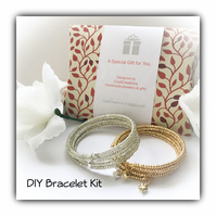 DIY Bracelet Kit in Gold or Silver Gift Boxed Birthday Christmas Gift Idea