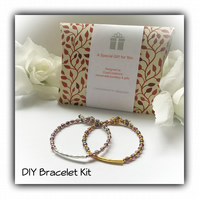 DIY Pretty Bracelet Kit in Gold or Silver Gift Boxed Birthday Christmas Gift