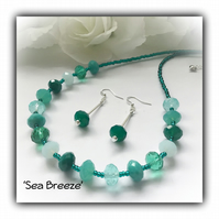 Turquoise Adjustable Necklace Set with Earrings Gift Boxed Christmas Birthday