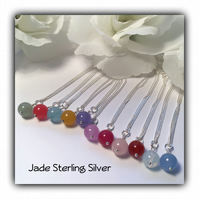 Sterling Silver Jade Gemstone Birthstone Necklace Gift Boxed Birthday Christmas