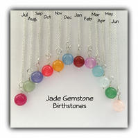 Silver Jade Gemstone Birthstone Necklace Gift Boxed Birthday Christmas Gift