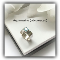 Aquamarine Sterling Silver Ring UK Size M Gift Boxed Birthday Christmas Gift