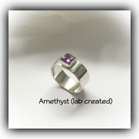 Sterling Silver Amethyst Ring Size L Gift Boxed Ladies Christmas Birthday Gift