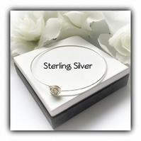Sterling Silver Rosebud Bangle Gift Wrapped Christmas Birthday Ladies Gift Idea