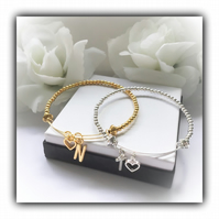 Bridesmaids Bracelet Adjustable Gold or Silver Gift Boxed Wedding Bridal Gift