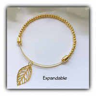Adjustable Gold Plated Bangle with Leaf Charm Gift Boxed Christmas Birthday Gift