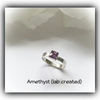Sterling Silver Ring with Square Amethyst Stone UK Size M Gift Boxed Promise