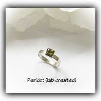 Sterling Silver Ring with Square Peridot Stone Gift Boxed Birthday Christmas