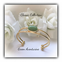 Green Aventurine Gold Plated Cuff Bangle Gift Boxed Christmas Classic Gift