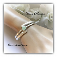 Green Aventurine Silver Plated Cuff Bangle Gift Boxed Classic Christmas Gift