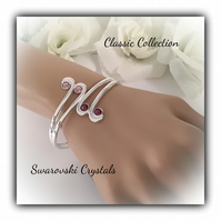 Silver Plated Cuff Bangle with Pink Swarovski Crystals Gift Boxed Christmas Gift