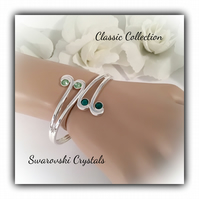 Silver Plated Cuff Bangle with Green Swarovski Crystals Gift Boxed Ladies Gift