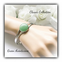 Green Aventurine Classic Silver Cuff Bangle Gift Boxed Christmas Birthday Gift