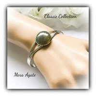 Moss Agate Silver Plated Cuff Bangle Gift Boxed Gemstone Christmas Birthday Gift
