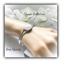 Rose Quartz Silver Plated Classic Cuff Bangle Gift Boxed for Christmas Birthday