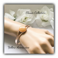 Rose Gold Classic Cuff Bangle with Yellow Aventurine Gift Boxed Christmas Gift