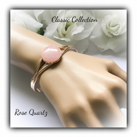 Rose Gold Cuff Bangle with Rose Quartz Gemstone Christmas Birthday Gift Boxed