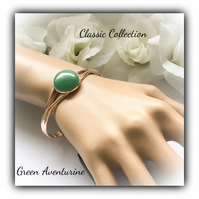 Rose Gold Cuff Bangle with Green Aventurine Gift Boxed Christmas Birthday Gift