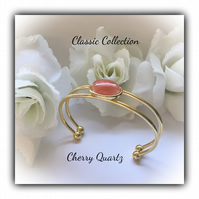 Cherry Quartz Gold Plated Bangle Cuff Gift Boxed Christmas Classic Birthday Gift