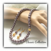 Dusky Purple Classic Pearl Necklace Set Earrings Gift Boxed Christmas Birthday