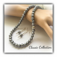 Grey Pearl Classic Necklace Set with Earrings Gift Boxed Christmas Birthday Gift