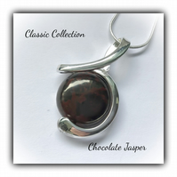 Silver Plated Pendant Necklace with Chocolate Jasper Gemstone Gift Boxed Gift