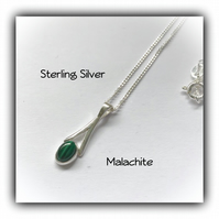 Sterling Silver Pendant Necklace with Malachite Gemstone Gift Box Christmas Gift