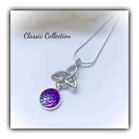 Classic Silver Celtic Knot Pendant with Purple Scale Cabochon Gift Boxed