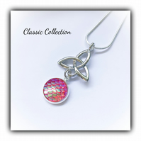Classic Celtic Knot Pendant with Pink Mermaid Scale Cabochon Gift Boxed Xmas